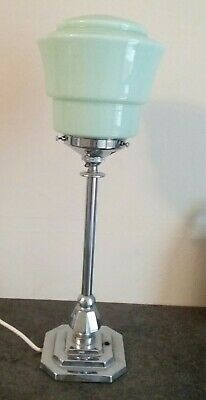 Art Deco Chrome Plated Table Lamp With Pastel Green Shade