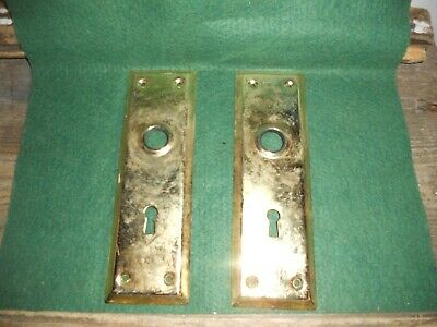 Vtg Shabby Used Metal Steampunk Antique Door Knob Back Plates Art/Crafts