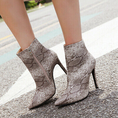 Sexy Womens High Heel Zip Booties Ladies Snake Skin Ankle Boots Pointy Toe Shoes