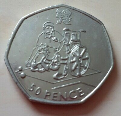 Olympic 50p boccia fifty pence coin circulated 2011