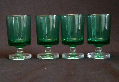 Vintage Set of 4 Emerald Green Footed Shot Glasses Cordials Clear Base