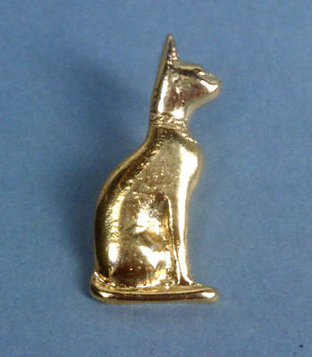 Egyptian 22kt GP Seated Bastet Cat Stud-back Pin Brooch