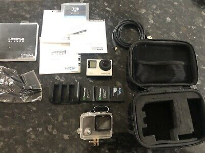 GoPro Hero4 Black Edition 64 GB Camcorder - Silver With 4 Batteries And Case