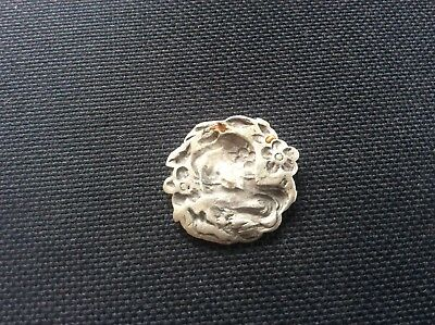 Art Nouveau Antique Solid Silver 1902 Hallmarked Stylised Lady Button Pendant