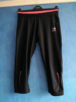 Karrimor XLite Black Pink Reflective Cropped Running Tights Trousers Size 10