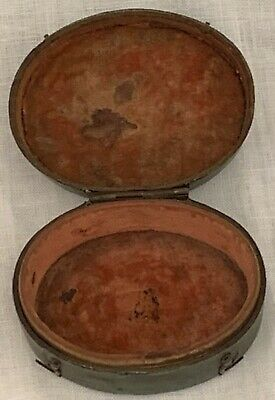 Rare antique late 18th c. shagreen cased oval box, with two metal clips to close