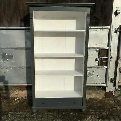 Vintage French Painted Pine Bookcase Cabinet with Drawer