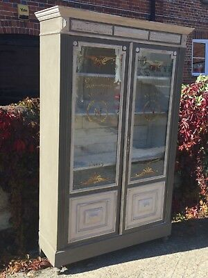 Antique Vintage French Painted Pine  Glazed Display Cupboard Armoire Cabinet