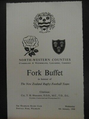 1964 North West Counties v New Zealand  dinner menu