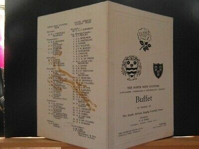 1969 North West Counties v south africa   dinner menu