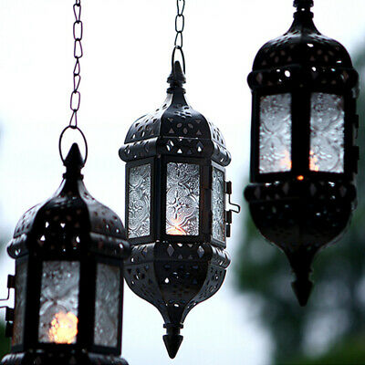 1 pc Candle Holder Outdoor Hanging Wrought Iron Decor for Garden Patio Courtyard