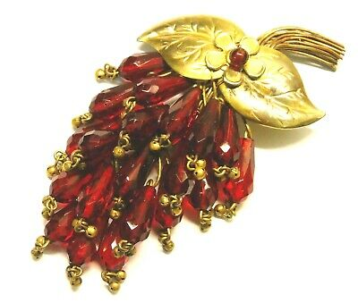 Large Antique/Vintage Red Glass Grapes & Brass Wire Fur Dress Clip Pin Brooch