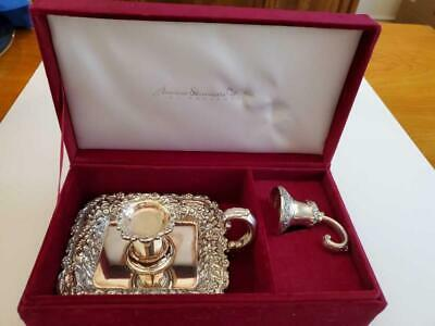 Tiffany Reproduction Silver Plated Candle Holder & Snuffer In Presentation Box