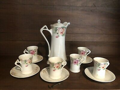 Antique Bavaria Porcelain Rose Chocolate Tea Pot With Cups And Saucers (12pcs)