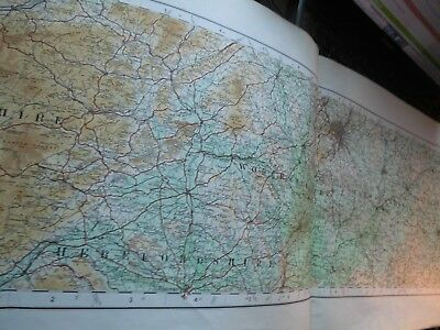 English Central Midlands: A Rare Elongated Ordnance Map- 1922 Topographic Colour