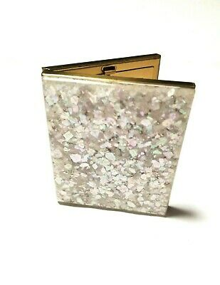 Lucite Confetti Glitter Vintage Compact Makeup Mirror Shiny 1950 Midcentury