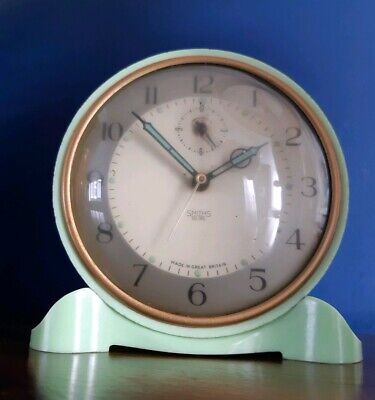 Vintage Art Deco Green Bakelite Smiths Sectric Mantle Electric Alarm Clock
