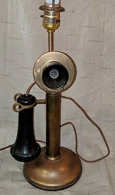 Vtg Antique Western Electric Candlestick Telephone Table Lamp Brass American Tel