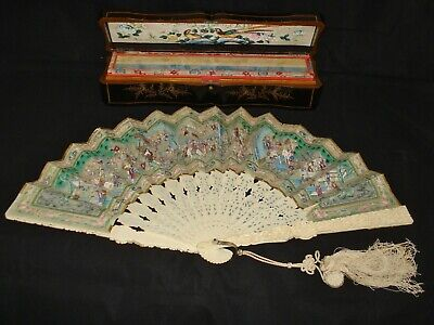 Antique Chinese Export Carved Mandarin Fan with Original Lacquer Box, Circa 1860