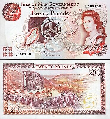 Isle Of Man 20 Pounds 2013, UNC, P-49a, Sign-7, Que II, DLR