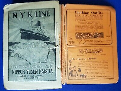 1926 Antique Cook`s Continental Time Table Steamship Guide Hotel Advertisement