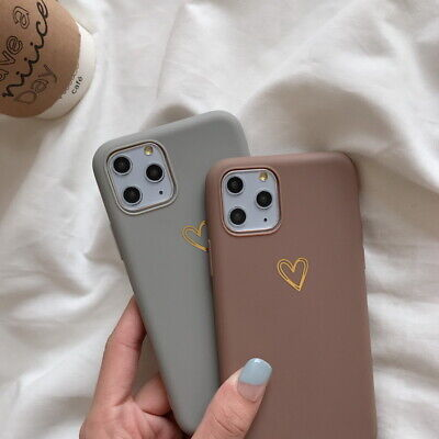 Cute Heart Soft Silicone Matte Cover Case For iPhone 11 Pro Max XS XR 8 7 6 Plus