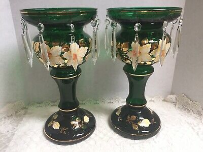 Pair Mantle Lusters Emerald Green Gold Gilt Czech Bohemian Hp Flowers-Excellent
