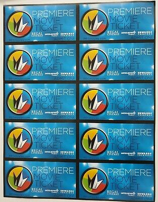 10 Regal Premiere Movie Tickets / NO EXPIRATION DATE / FREE SHIPPING