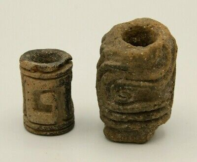 PRE-COLOMBIAN TAIRONA CERAMIC PAINT DESIGN ROLLERS  c.900–1500 A.D.