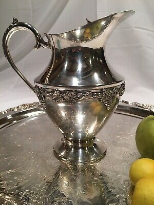 Vintage Silver Plate Silver-Plated On Copper Water Pitcher B.M.Mounts