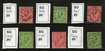 King George V. 1911-1912. Downey Head Group of 6 stamps. Fine used.