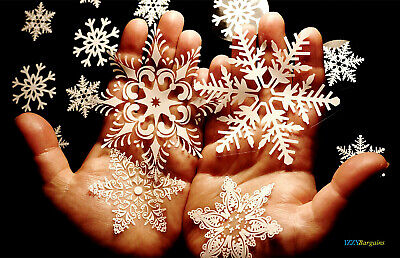 57 Christmas Snowflakes Stickers Reusable Shop Office Home Windows Decorations