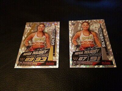 Topps Slam Attax Universe Trading Cards - Ronda Rousey Gold And Silver Limited