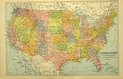 1928 Map United States Texas Kansas Kentucky New York California Nevada Arizona