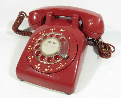 Vintage 1963 Red C D 500 Western Electric Rotary Desk Phone 4-63 Telephone Works