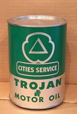 Vintage Cities Service Trojan Motor Oil Full Quart Can