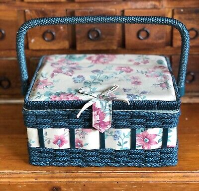 Vintage Retro Cane Floral Sewing Box Craft Basket And Contents Blue