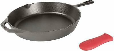 Lodge 12 Inch Cast Iron Skillet. Pre-Seasoned Cast Iron Skillet with Red Silicon
