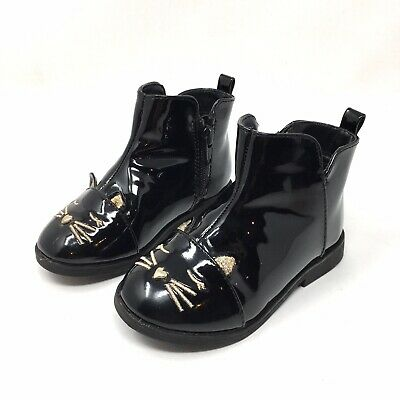 Childrens Place Toddler Girls Sz 7 Black Patent Kitty Cat Boots EUC