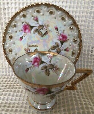Vintage Royal Sealy Tea Cup Saucer Set Rose Opal Multi-Color Luster ~Gold Trim