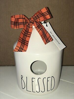 "New RAE DUNN Artisan Collection LL ""BLESSED"" Round Birdhouse"