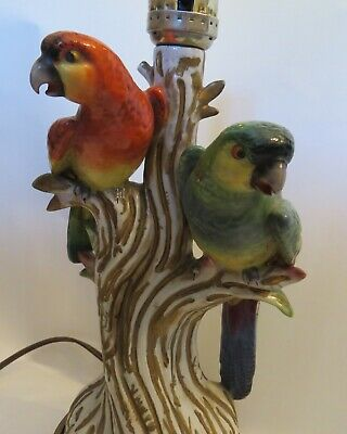 Antique Pair of PARROTs LAMP Vintage 1930's hand painted light
