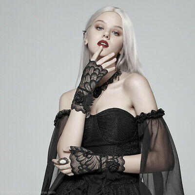 Women's Victorian Gothic Lace Evening Party Elegant Floral Fingerless Gloves