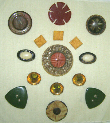 ANTIQUE+VINTAGE LOT OF 15 BUTTONS- BAKELITE+EARLY CELLULOID+ART GLASS-MID 20th C