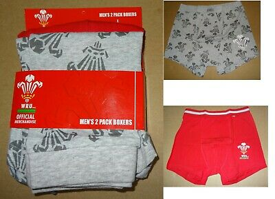 Welsh Rugby Union (WRU)  Mens Cotton Jersey Boxers-Brand New Size-Large, 2 pack