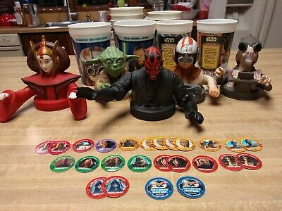 Star Wars Episode 1 5 Cup Toppers + 9 Cups + 25 Game Pieces Taco Bell KFC Pepsi