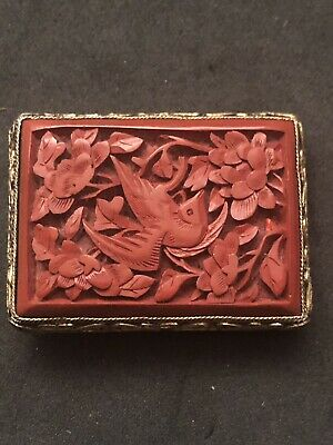 Antique CHINESE carved CINNABAR Clip Brooch Pin Bird Flowers Qing Gold Filigree