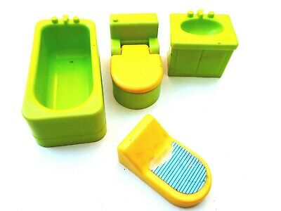 Vtg Fisher Price Little People 4 Pc Green Bathroom Set Toilet Bathtub Scale Sink