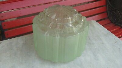 Green ART DECO Ribbed GLASS Light SHADE With CLEAR Glass DIFFUSER