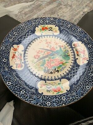 Antique Vintage Japanese Or Chinese?  Asian Pottery Display Plate Blue Signed